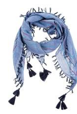 Calla Embroidered Scarf - Blue