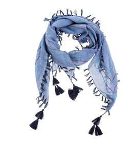 Calla Embroidered Scarf - Blue
