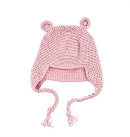 Crocheted Baby Bear Toque - Pink
