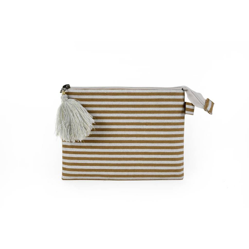 Silver Stripe Pouch - Medium