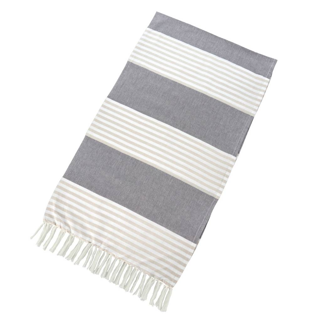Turkish Towel - Taupe + Grey