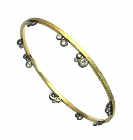 TAP by Todd Pownell 18k Yellow Gold Bangle with 14k White Gold Side Set Diamonds