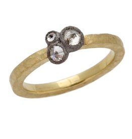 TAP by Todd Pownell Round Hammered Ring with 3 Clustered Inverted Diamonds - 18K Yellow Gold