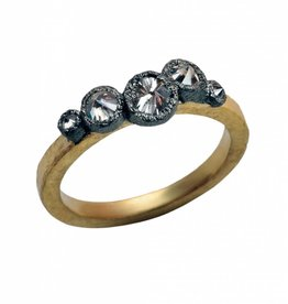 TAP by Todd Pownell Square Hammered Shank Ring with 5 Inverted Diamonds - 18K Yellow Gold