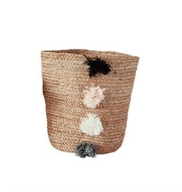 Large Jute Braided Basket with PomPoms