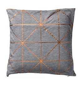 Light Grey Melange Pillow with Copper Diagonal Print
