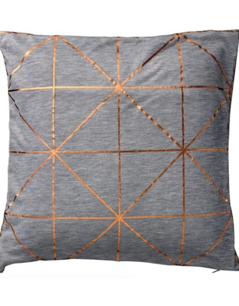 Light Grey Melange Pillow with Copper Diagonal Print