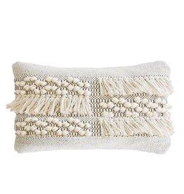 Pom Pom at Home Zahra Lumbar Pillow - Ivory + Grey
