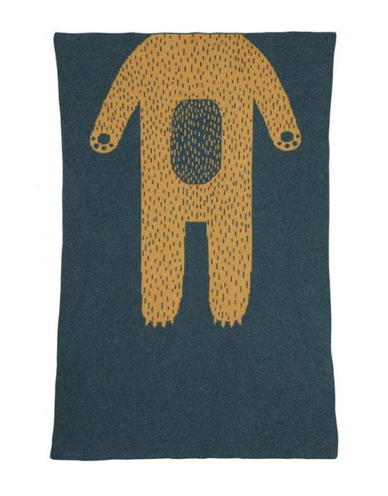 Donna Wilson Mini Bear Blanket - Blue + Gold