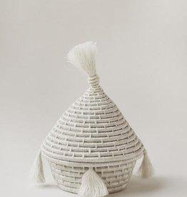 Indego Africa White Tassel Basket
