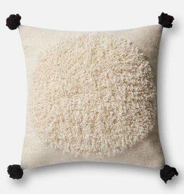 Loloi Ivory Square PomPom Pillow
