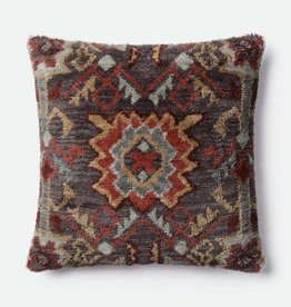 Loloi Brown Shag Square Pillow
