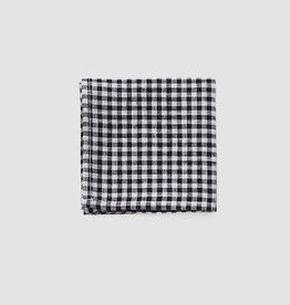 Fog Linen Handkerchief - Black + White Checker