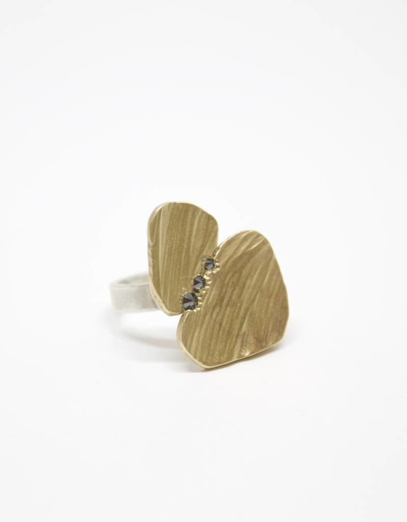 Chikahisa Studio Bronze Double Ring with Black Diamonds