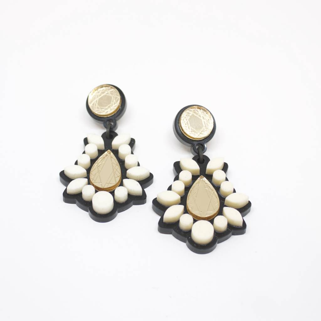 Finn Sofia Earrings - Ivory + Gold