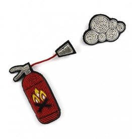 Macon & Lesquoy Fire Extinguisher Pin w/ Small Cloud of Smoke (2 Pc)