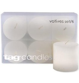 White Votive Candles - Set of 6