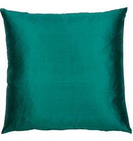 Eight Mood Dupione Square Pillow - Emerald Green