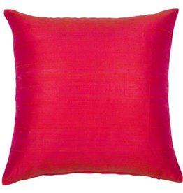 Eight Mood Dupione Square Pillow - Coral
