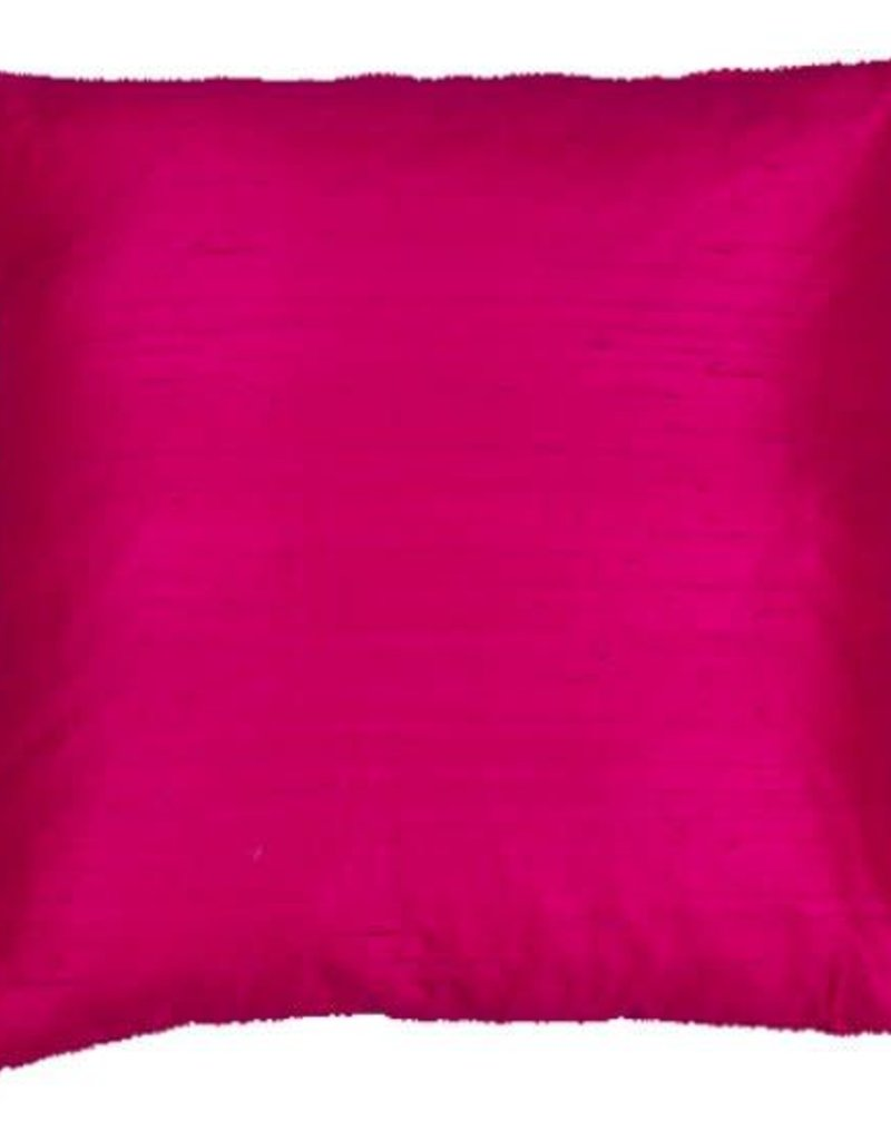 Eight Mood Dupione Square Pillow - Cerise
