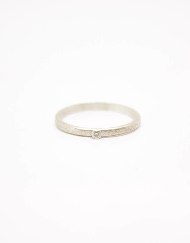 Sarah Swell Weathered Stacking Ring - 1 Diamond