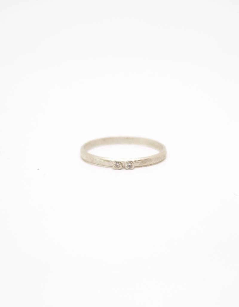 Sarah Swell Weathered Stacking Ring - 2 Diamond