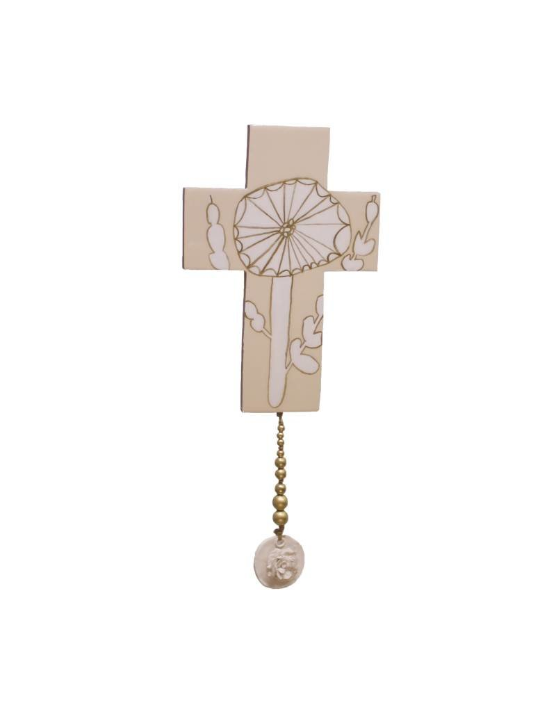 Entouquet Pink + Gold Floral Design Cross Tile with Circular Floral End Piece