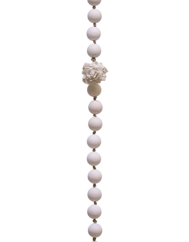 Entouquet Pink End Ball Strand Hanging with Porcelain Flower Ball
