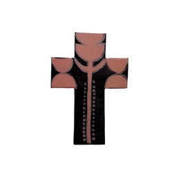 Entouquet Peach Tulip Design Black Cross Tile