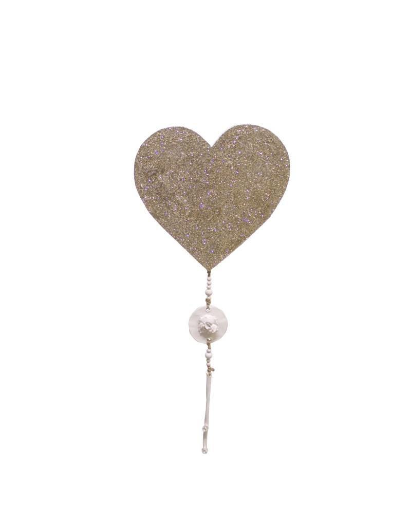 Entouquet Champagne Glitter Heart Tile with Floral Pieces