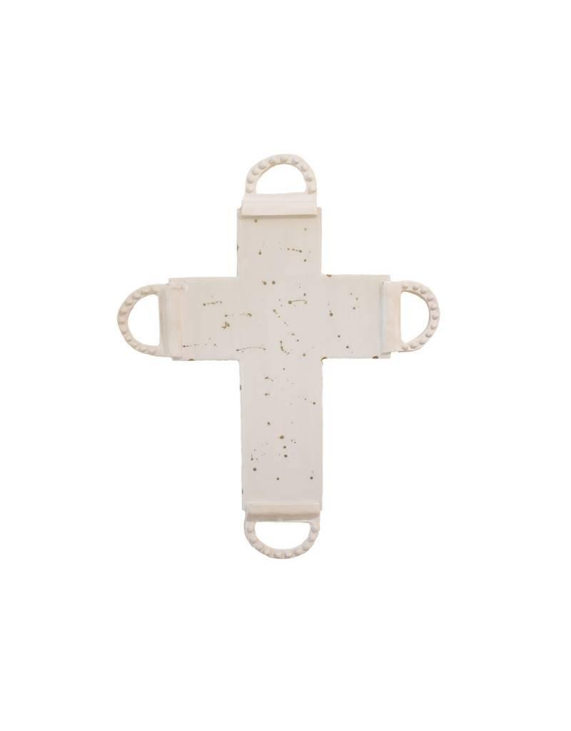 Entouquet Ivory + Gold Splatter Cross with Porcelain End Tips - Large