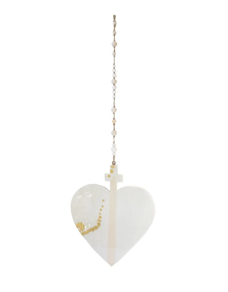 Entouquet Cross Heart Hanging - Blush Stripe + Gold Splatter