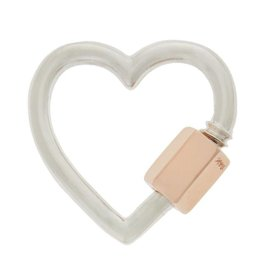 Marla Aaron Heart Lock - Silver with Rose Gold Closure