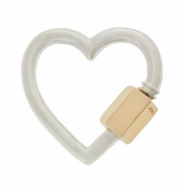 Marla Aaron Heart Lock - Silver with Yellow Gold Closure