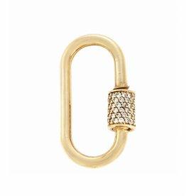 Marla Aaron Stoned Yellow Gold Medium Lock with Diamonds