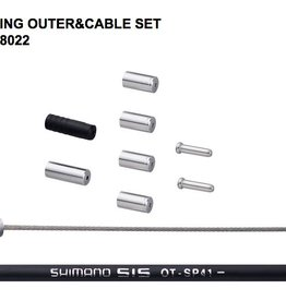 Shimano SHIMANO ROAD SUS SHIFT CABLE SET BLACK 1700MM SP41 OUTER CABLE(BLACK), 2PCS OF 2100MM SUS INNER CABLE W/ OUTER CAP,SEALED OUTER CAP&INNER END CAP
