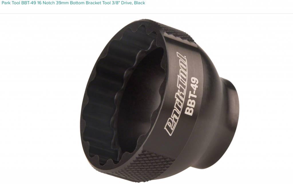 "Park Tool Park Tool BBT-49 16 Notch 39mm Bottom Bracket Tool 3/8"" Drive, Black"