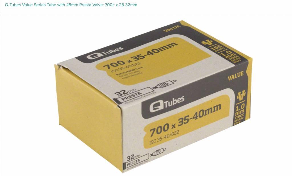 Q-Tubes Q-Tubes Value Series Tube with 48mm Presta Valve: 700c x 28-32mm