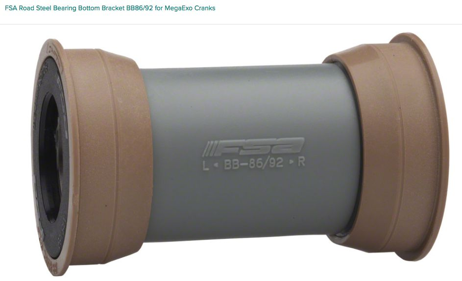 FSA (Full Speed Ahead) FSA Road Steel Bearing Bottom Bracket BB86/92 for MegaExo Cranks
