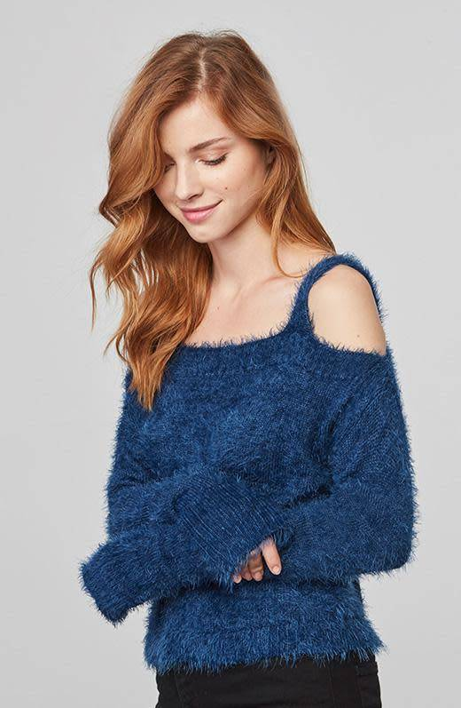 BB Dakota Calista Eyelash Off Shoulder Sweater