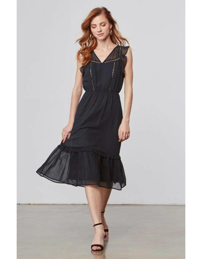 BB Dakota Carra Chiffon Navy Midi Dress