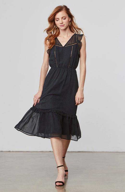 BB Dakota Carra Chiffon Navy Midi Dress