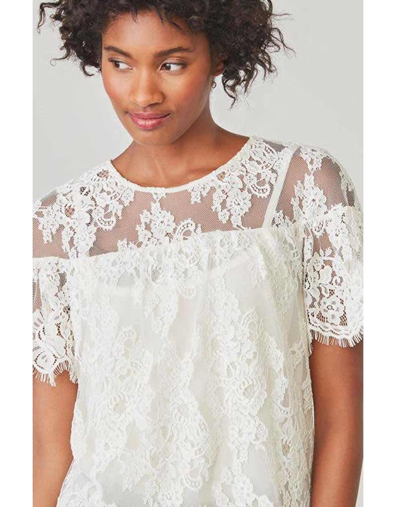 BB Dakota Alda White Lace Top
