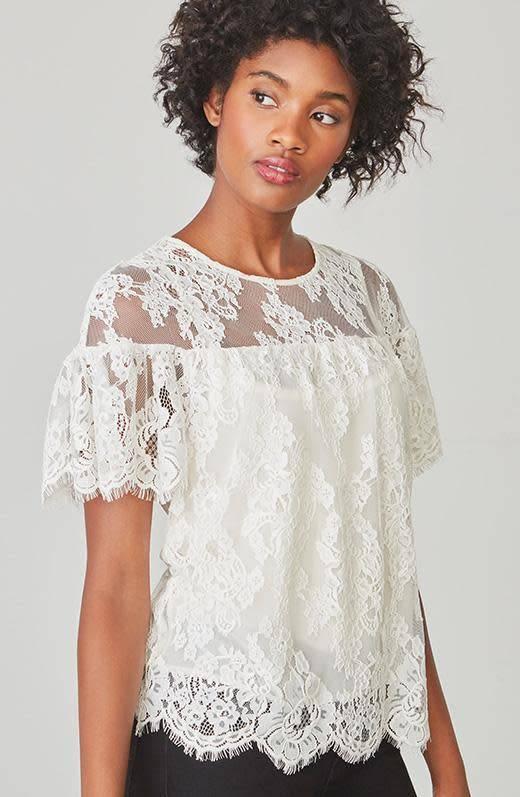 BB Dakota Alda White Lace Top