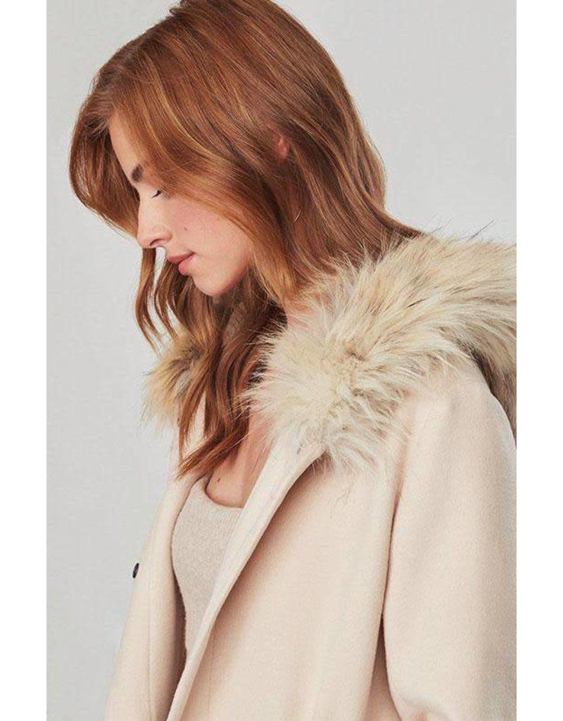 BB Dakota Colin Fur Trim Coat