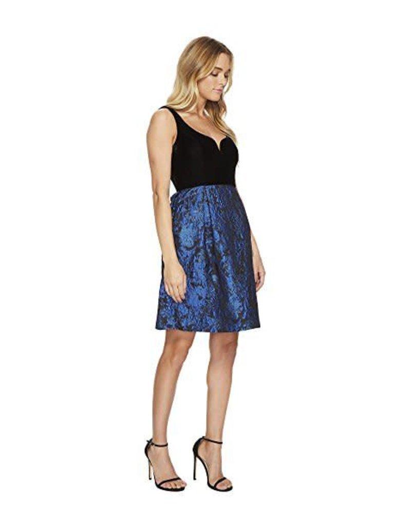 Donna Morgan Black Velvet/Cobalt Skater Dress