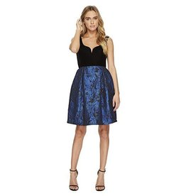 Donna Morgan Black Velvet/Cobalt Skater Dress