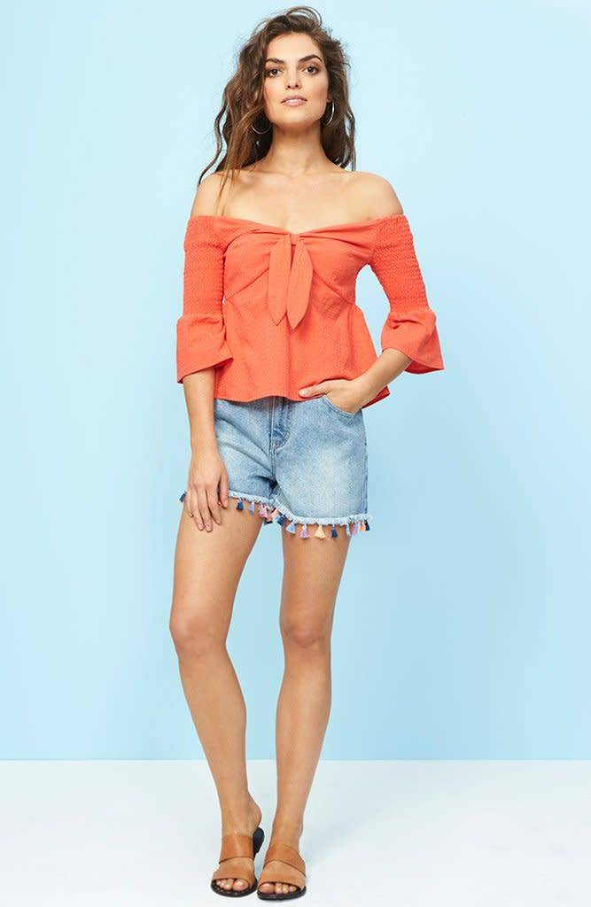 MINKPINK Say It Right Smocked Sleeve Top