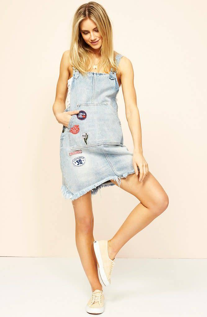 MINKPINK Free Ride Patch Denim Pinnie