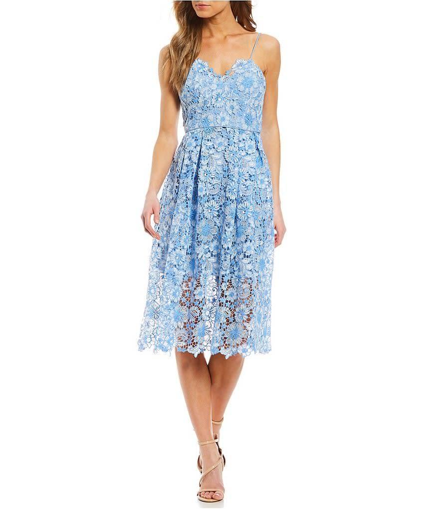 Donna Morgan Coraline Blue Lace Dress